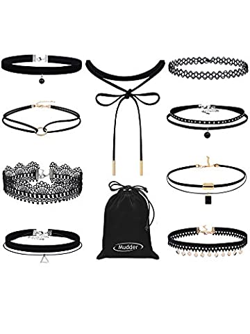 Mudder Black Choker Set Velvet Choker Necklace Lace Tattoo Choker Tassel Women Necklace, 9 Pieces