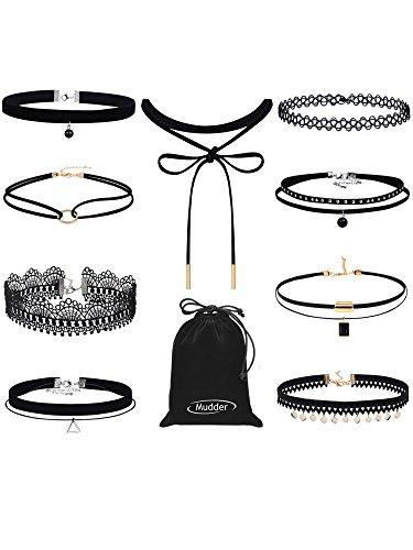 mudder-black-choker-set-velvet-choker-necklace-lace-tattoo-choker-tassel-women-necklace-9-pieces