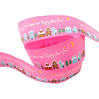 3 m di lunghezza Merry Christmas Happy New Year Arts & Crafts – grosgrain 22 mm – rosa - New Baby Arrangement