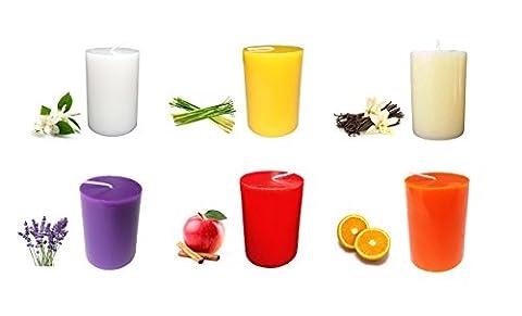 Collumino Summer Sélection Lot de 6bougies pilier Parfum lavande Vanille Taille 8x 5.5cm ~ ~ ~ Orange ~ de citronnelle Jasmin ~ Apple-cinnamon