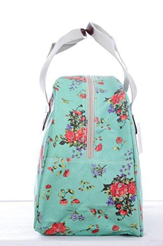 Holiday Weekender, Wachstuch-Handtasche Eule, gestreift Tranquil Roses