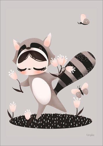 Süßer Kinder Kostüm Waschbär - Posterlounge Holzbild 120 x 160 cm: Kostümierte Waschbären von Kanzi LUE