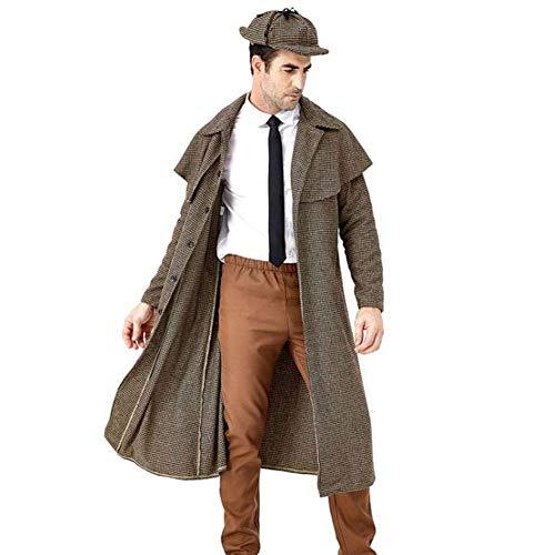 Dickens Einfach Kostüm - QWE Halloween Kostüm Film Charakter Big Detective Cosplay British Plaid Hohe Kragenjacke