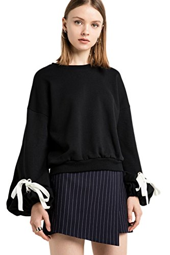 Frauen Im Verband Ballon Ärmel Pullover Um Den Hals Kapuzenpullis Sweatershirt Black L -