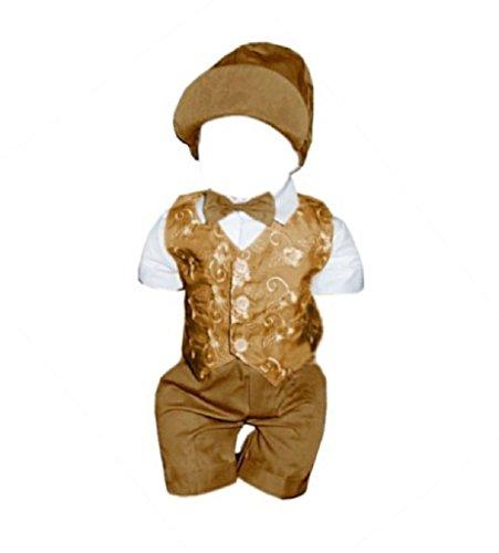 6 teiliger Sommeranzug Taufanzug mit Hemd, Hose, bestickter Weste, Fliege und Mütze, L23 Gr. 80/86