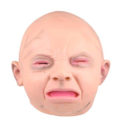 Tinksky Weinende Baby Latex Maske Kopf Maske Halloween Cosplay Party Kostüm Zubehör