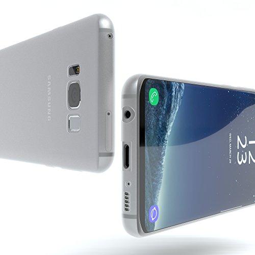 "EAZY CASE Handyhülle für Samsung Galaxy S8 Hülle - Premium Handy Schutzhülle Slimcover ""Brushed"" Aluminium Design - TPU Silikon Backcover in brushed Rot Matt Transparent"