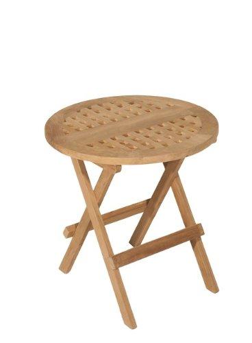 MACABANE 500972 Table Pique Nique Ronde Couleur Brut en Teck Dimension 50cm X 50cm X 50cm