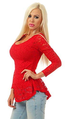 5252 Fashion4Young Damen Spitzen Bluse Langarm Vokuhila Shirt Blusenshirt Rückenfrei Stretch Rot