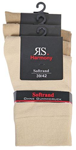 6 PAAR Damen Luxus-Socken Strümpfe Söckchen ohne Gummi Baumwolle mit Elasthan (39 - 42, natur/beige) - Sechs Söckchen