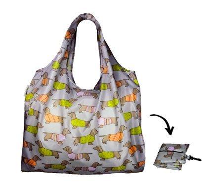 Re-Uz Lifestyle Shopper XL- pieghevole borse della spesa riutilizzabili più grande - Sausage Dogs Steel bassotti - Gift Bag Dog