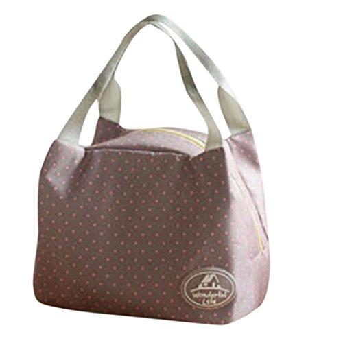 Coloré(TM) Sac à Déjeuner en Toile Tote Bento Portable Isotherme Lunch Bag Thermique isolé et froid pour Ecole Bureau Voyage Pique-nique (Gris)