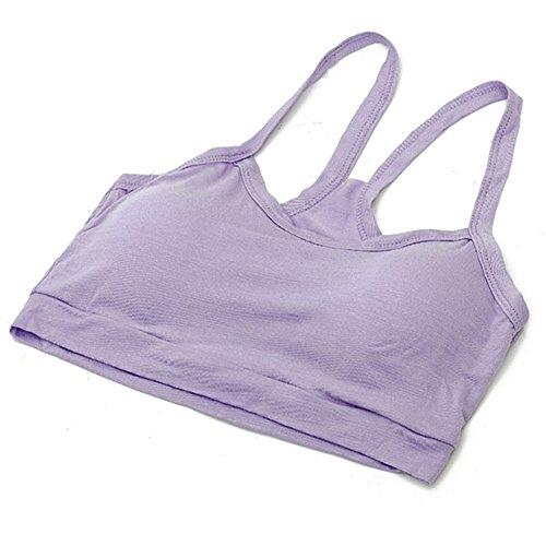BOBORA Donna Top corto intimo cinturino reggiseno sportivi Yoga cotone gilet reggiseno Viola