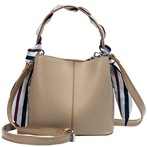 Simanli Designer-Handtaschen für Damen, kleine Handtasche mit Seidenschal, Branded Schultertasche New Look Crossbody Bag Gr. One size, khaki