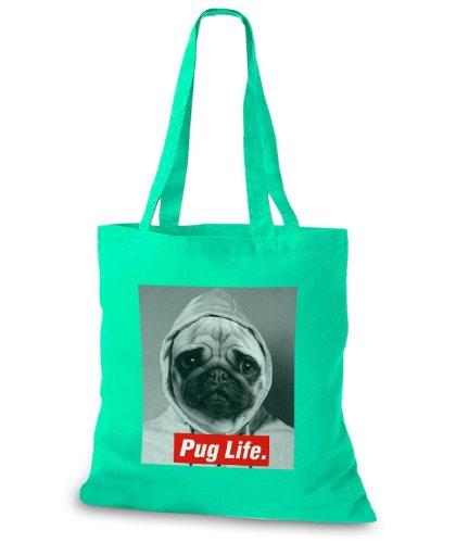 StyloBags Jutebeutel / Tasche Pug Life v3 Mint