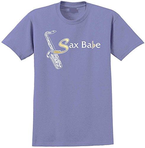 Saxophone Sax Tenor Sax Babe - Violett T Shirt Größe 86cm 34in Lge 12-13 Jahr MusicaliTee (Saxophon Kinder Für Yamaha)