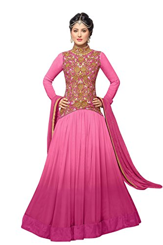 Vibes Womens Georgette Patch Work Anarkali Dress Material (V293-42004G _Pink _Free Size)