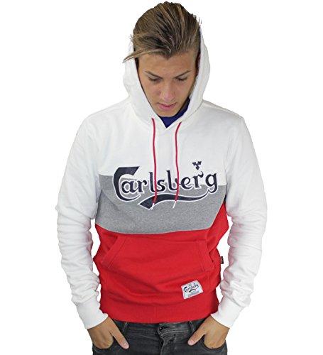 Felpa CARLSBERG Rosso Bianco con cappuccio e tasche XXL NERO