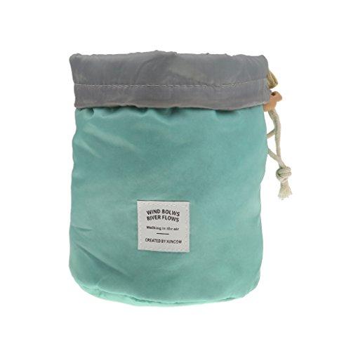 Aufrechter Koffer (Single Cosmetic Kulturtasche Toiletbag Runden Kulturbeutel Wasserdicht Speicherung Große Kapazität Rund Veranstalter Toilettentasche Mit Kordelzug Tief Blau-Make-up - one size, Blau)