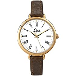 Limit Women's Quartz Watch with White Dial Analogue Display and Brown PU Strap 6961.35