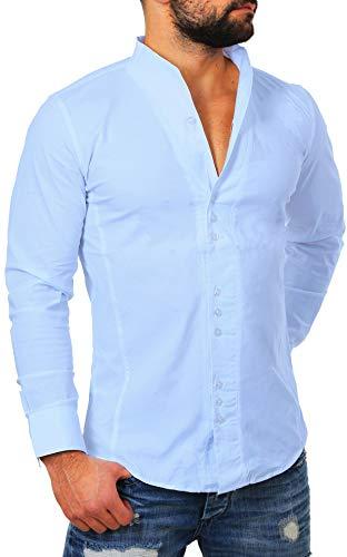 Carisma -  camicia casual - collo alla coreana - manica lunga - uomo azzurro m