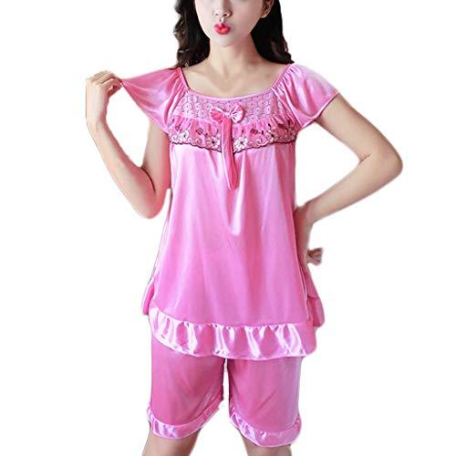 Hffan Damen Schlafanzug Kurz Sommer Pyjama Baumwolle Spitze Nachtwäsche Sleepwear mit Kurzarm Tanktop und Shorts Frau Nachthemd Sexy Spitze V-Ausschnitt Dessous Setzt -