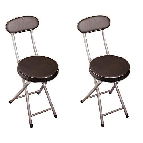 Nfurniture Tragbare Hocker Moderne Klappstühle Für Erwachsene Mit Zurück Kleine Küche Sitz Stuhl Für Esszimmer Indoor/Outdoor Möbel Dekor Weiß Schwarz (Color : 2 Pcs Black)