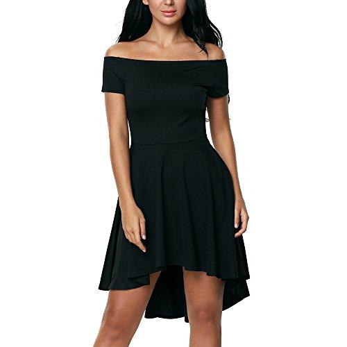 Lauzal Damen Kleid Schulterfreies Cocktailkleid Festlich Abendkleid Knielang Partykleid