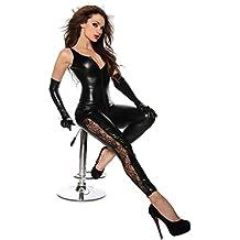 Ohyeah Mono de piel sintética y de encaje, elástico, color Negro Talla Única, para mujer