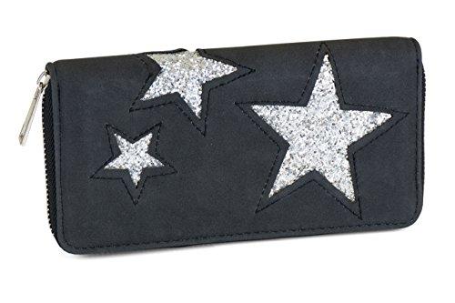 FashionCHIMP Geldbörse mit glitzer Stern Pailletten Cut-Out Muster, Reißverschluss, Damen Portemonnaie (Schwarz)