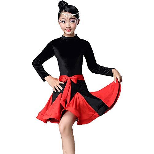 YONGMEI Tanzkostüm - Latin Tanzkleid Mädchen Kleid Kinder Tanz Kostüm Mädchen Herbst und Winter Langarm-Prüfung Praxis Kleidung (Farbe : Red, größe : ()