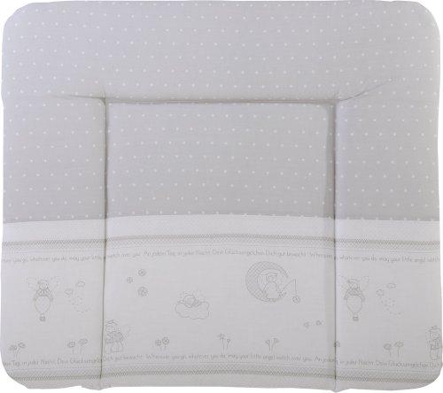 Preisvergleich Produktbild Softe Wickelauflage in grau mit PU-Beschichtung und süßen Engel-Motiven, Maße: ca. 85 x 75 cm