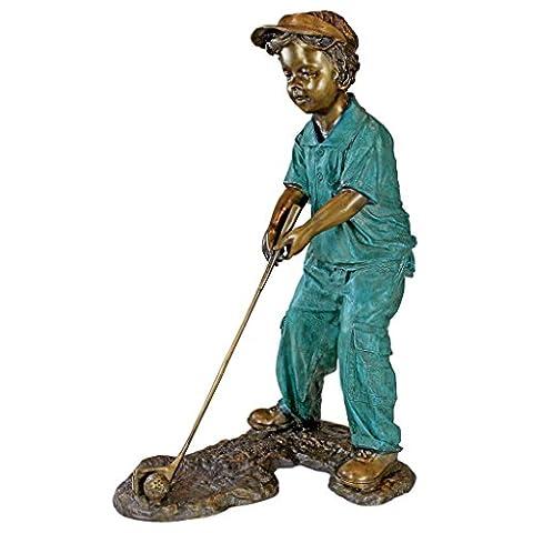 Interpret Design Toscano Gabe Junge Golfer Bronze Statue frt-nr (Golfer Bronze Garten-statue)