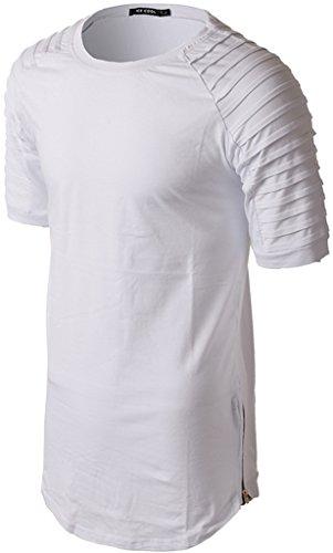 ... Whatlees Herren Hip Hop Urban Basic Design Lang geschnittenes T-Shirt  aus weiches Jersey B430