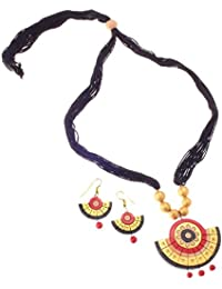 More Bangla Women's Puja Bahaar Terracotta Jewellary Set-Red