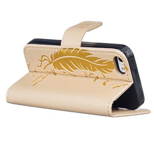 iPhone SE / 5 / 5S Hülle,iPhone SE / 5 / 5S Ledertasche Brieftasche im BookStyle,Cozy Hut Handyhülle iPhone SE / 5 / 5S [Flügel] Muster PU Leder Tasche Schutzhülle Folio Magnetverschluss Flip Case Wal golden