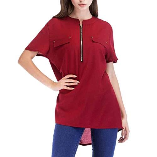 Longshirt Damen Sommer Unifarben Kurzarm Rundhals mit Zipper Mädchen Oberteile Casual Loose Basic Luftig Chiffon Shirts Blusen Blusentop