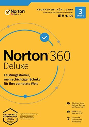 Norton 360 Deluxe 2020 | 3 Geräte |Secure VPN und Passwort-Manager | PC, Mac oder Mobilgerät | 1 Jahr|Download
