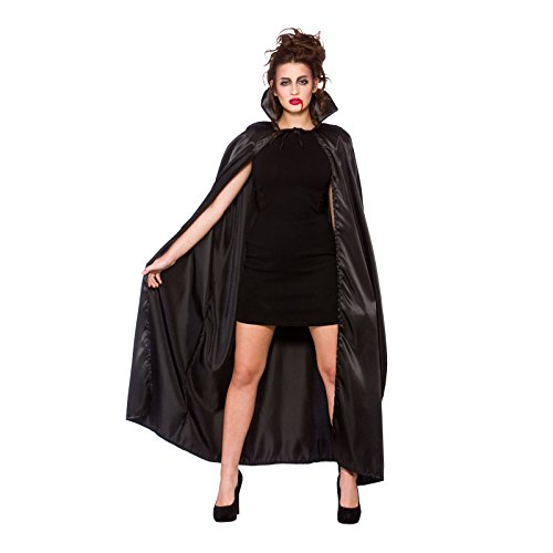 Deluxe Satin Cape With Collar (adult) -black