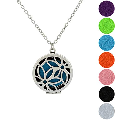 SUPVOX Diffusor Halskette Edelstahl Aushölen Medaillon Form Ätherisches Öl Lufterfrischer Aromatherapie Anhänger mit 7 Farbe Pads (Silber)