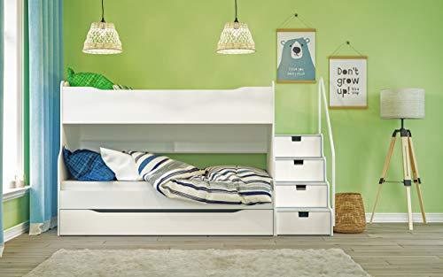 Max 4 Etagenbett mit Schubkastentreppe in Weiß Hochbett Kinderbett Bett (Kinder-hochbett Mit Treppe)