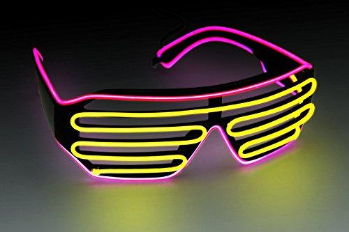 Ucult Soundaktive Blinkbrille LED Brille EL-Partybrille Clubbrille Jalousie Brille (Pink / Gelb)