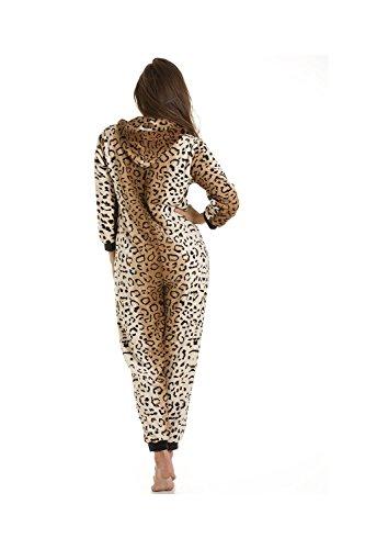 Schlafanzug Leoparden-Muster aus Fleece –  Gold/Braun - 4