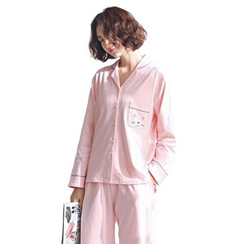 Rainbow pajamas Pyjamas en coton à manches longues à manches longues Soft Cute Casual Home Clothing Set (Couleur : Rose, taille : Xl)