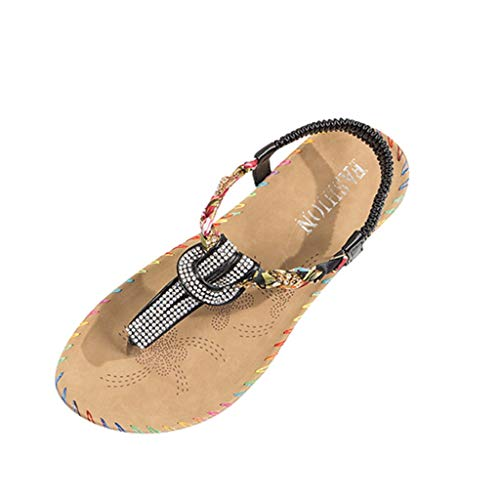 Yesmile Damen Sommer Böhmen Flache Badesandale Sandalen Boho Peep Toe Flip Flop Zehentrenner Schuhe Frauen Sommerschuhe Strandschuhe Pantoletten Frauen Outdoor Sandalen