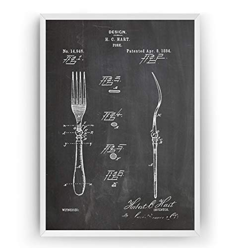Kitchen Decor Patent Poster - Fork - Vintage Wall Old Blueprint Gift Art Print Cutlery Restaurant - Frame Not Included Kitchen Fork