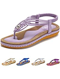 2dc200493 Socofy Women s Flat Sandals Summer Clip Toe Flip Flops Thongs Bohemian  Style Beach Shoes with Wedge Heels Ladies Slip On Open Toe T…