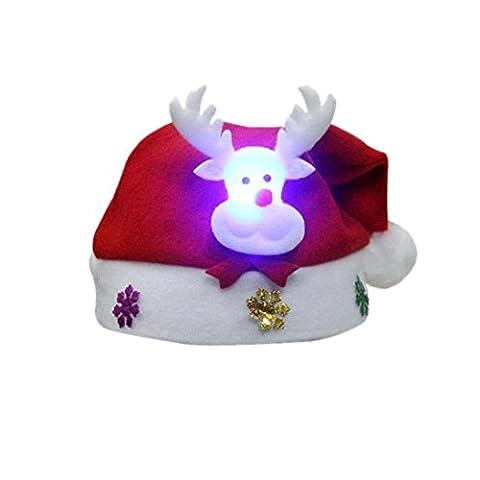 Chapeau De Noël Rougeoyant,Bovake Adulte LED Noël Hat Santa Claus Rennes Snowman Xmas Cadeaux Cap (C)