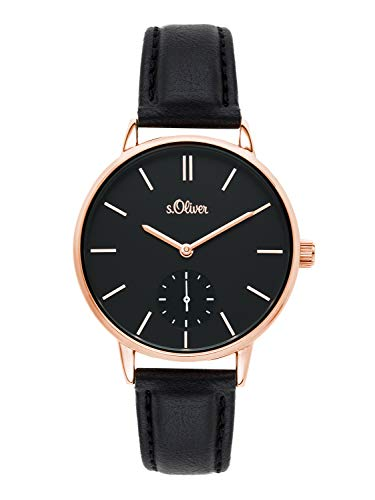 s.Oliver Time Damen Analog Quarz Uhr mit PU Armband SO-3586-LQ