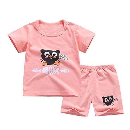LABIUO 1-5 Jahre Altes Kinderbekleidungsset Boy Kurzarm T-Shirt Hose Shorts Outfits Bekleidungsset Set Kinder Sommer Kleidungsset(Pink,6-12 Monate/80) -